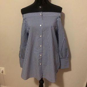 NWOT Tommy Hilfiger Off Shoulder Striped Blouse